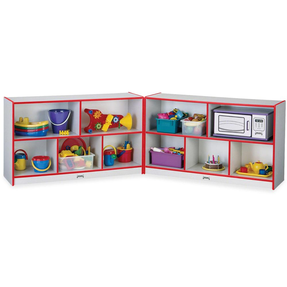 """Rainbow Accents Fold-n-Lock Storage Shelf - 35.5"""" Height x 96"""" Width x 15"""" Depth - Red - Hard Rubber - 1Each. Picture 1"""