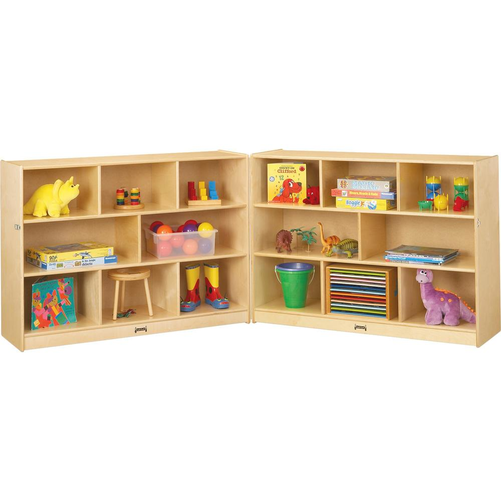 "Jonti-Craft Mobile Fold-n-Lock Open Shelf Unit - 35.5"" Height x 96"" Width x 15"" Depth - Floor - White, Wood Grain - Baltic Birch Plywood - 2 / Each. Picture 1"