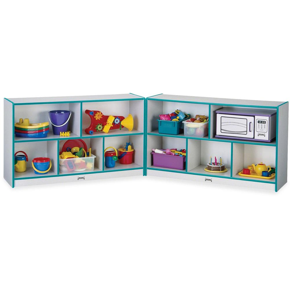 "Rainbow Accents Fold-n-Lock Storage Shelf - 35.5"" Height x 96"" Width x 15"" Depth - Teal - Hard Rubber - 1Each. Picture 1"
