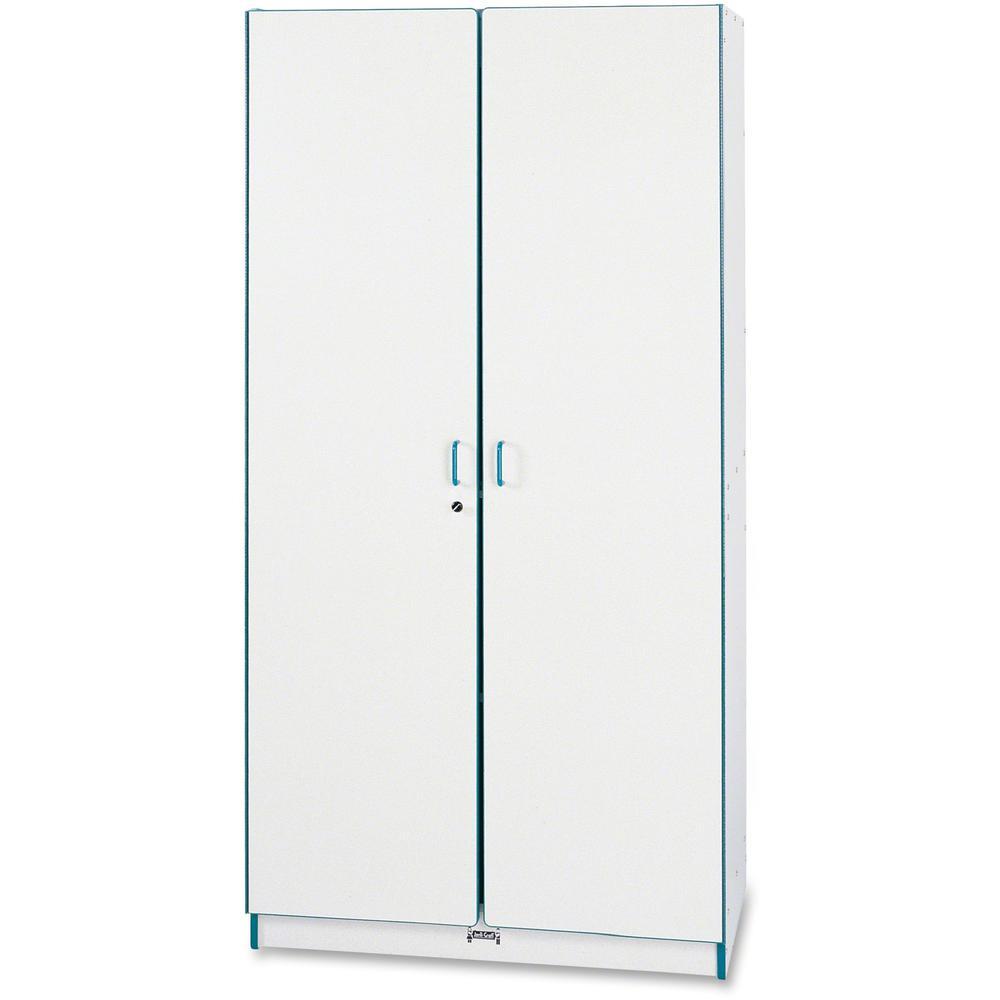 "Rainbow Accents Classroom Closet - 36"" x 24"" x 72"" - 3 x Shelf(ves) - Hinged Door(s) - Locking Door, Hinged Door, Chip Resistant, Rounded Edge, Adjustable Shelf - Teal - Freckled Gray Laminate. Picture 1"