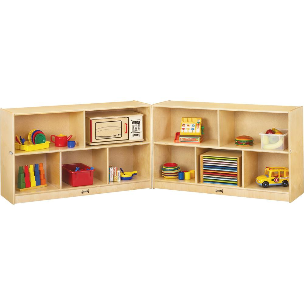 "Jonti-Craft Mobile Fold-n-Lock Open Shelf Unit - 29.5"" Height x 96"" Width x 15"" Depth - Floor - White, Wood Grain - Baltic Birch Plywood - 2 / Each. Picture 1"
