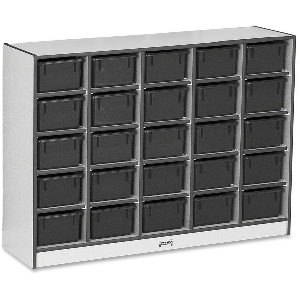 """Rainbow Accents Rainbow Accents Cubbie-trays Storage Unit - 25 Compartment(s) - 35.5"""" Height x 48"""" Width x 15"""" Depth - Black - Rubber - 1Each. Picture 1"""