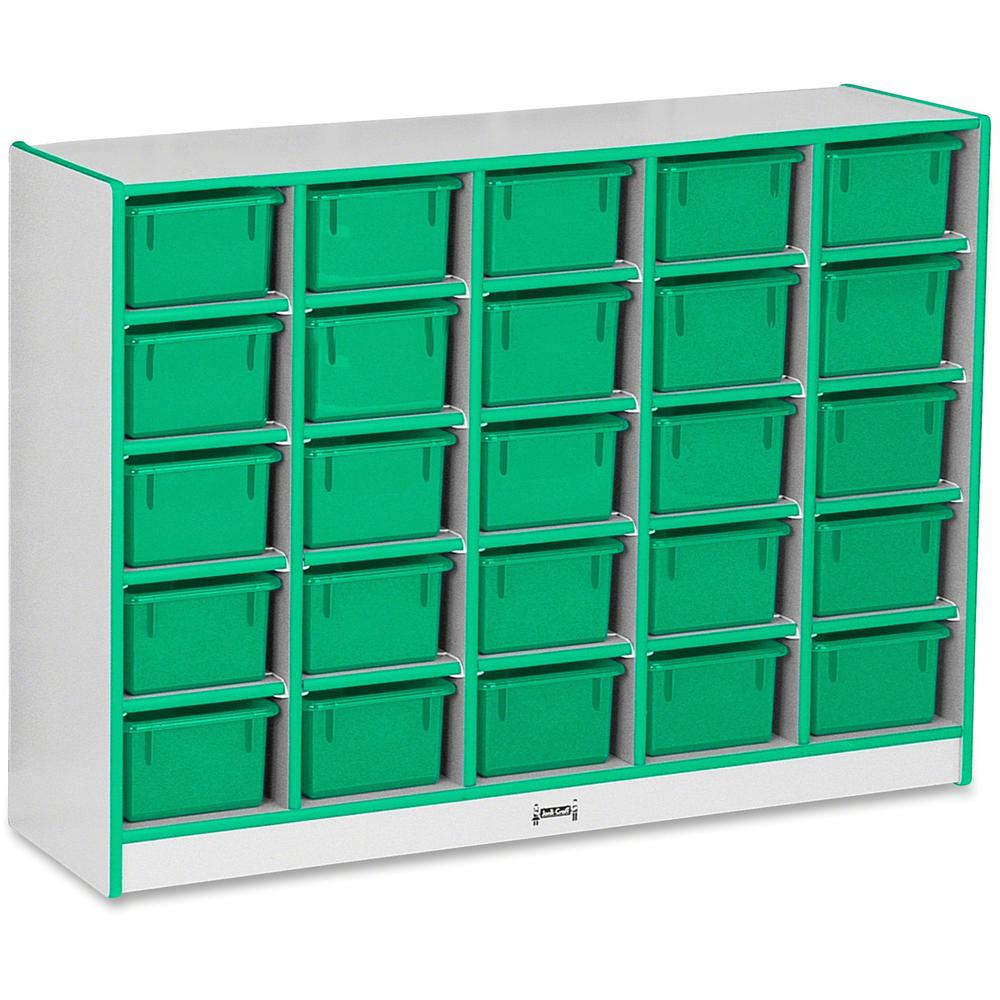 "Jonti-Craft Rainbow Accents Cubbie-trays Storage Unit - 25 Compartment(s) - 35.5"" Height x 48"" Width x 15"" Depth - Green - Rubber - 1Each. Picture 1"