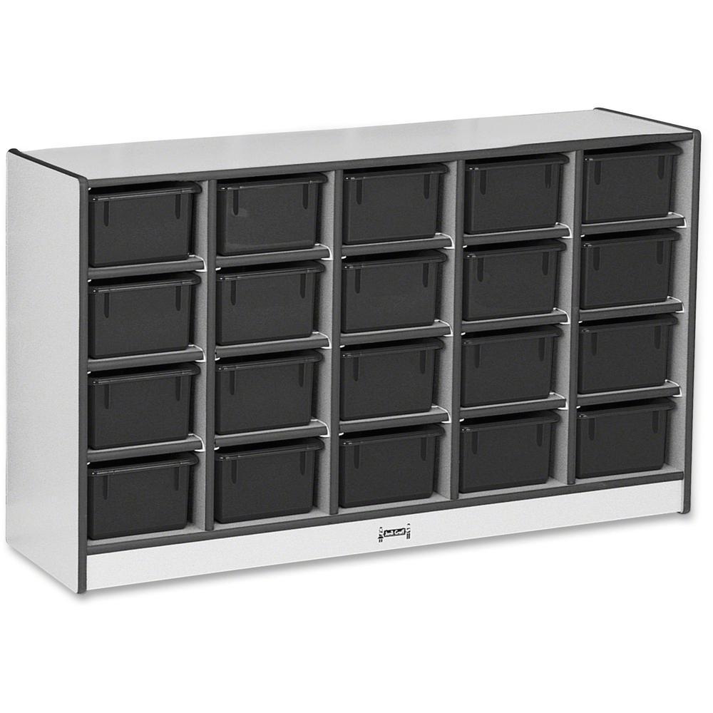 "Rainbow Accents Rainbow Accents Cubbie-trays Storage Unit - 29.5"" Height x 48"" Width x 15"" Depth - Black - Rubber - 1Each. Picture 1"