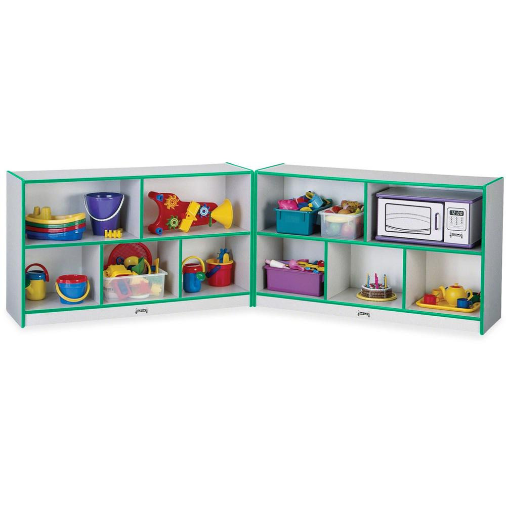 "Rainbow Accents Fold-n-Lock Storage Shelf - 35.5"" Height x 96"" Width x 15"" Depth - Green - Hard Rubber - 1Each. Picture 1"