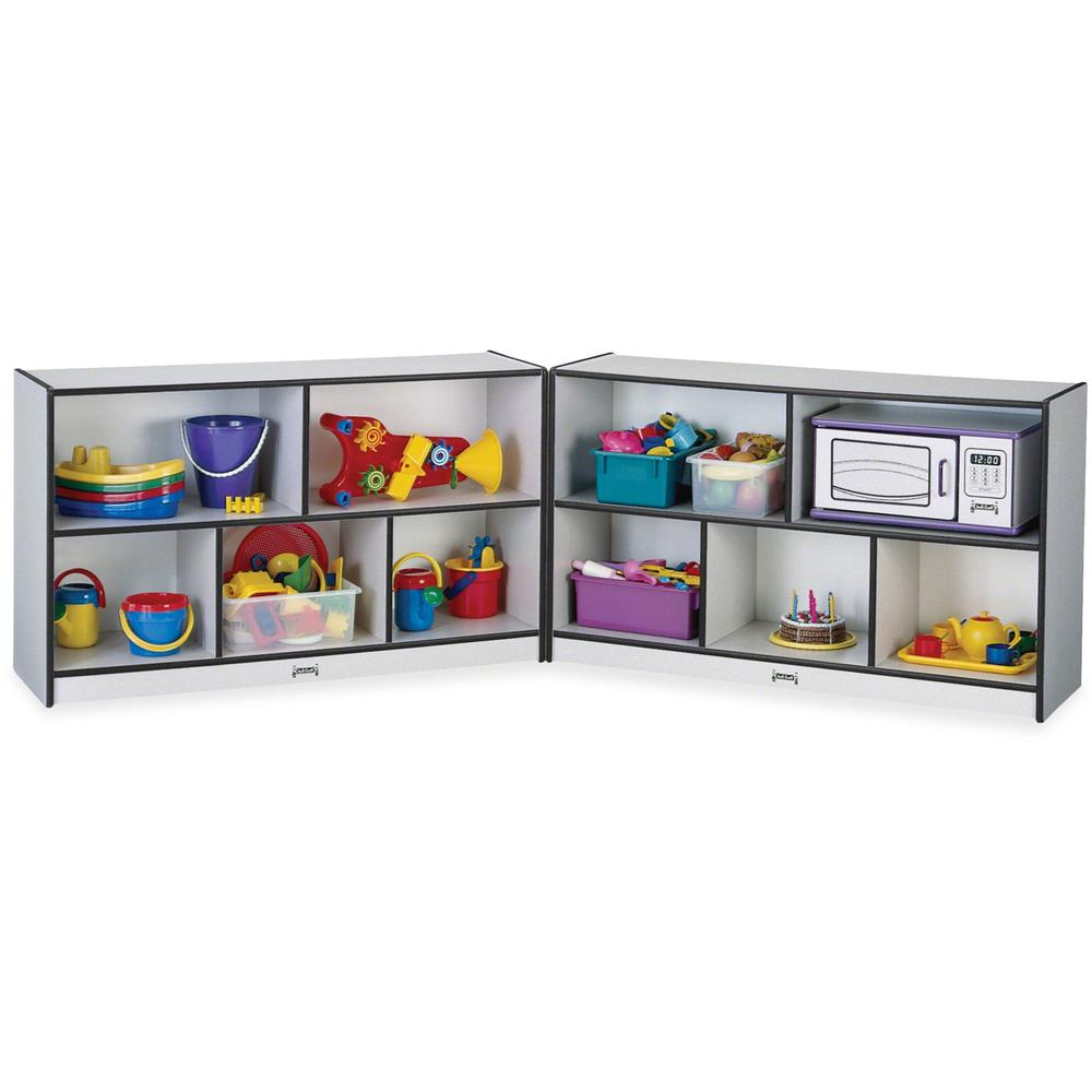 "Rainbow Accents Fold-n-Lock Storage Shelf - 35.5"" Height x 96"" Width x 15"" Depth - Black - Hard Rubber - 1Each. Picture 1"