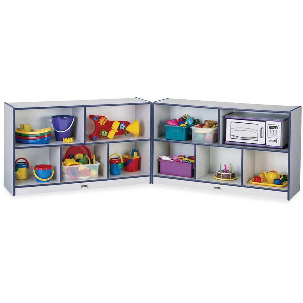 "Jonti-Craft Rainbow Accents Fold-n-Lock Storage Shelf - 29.5"" Height x 96"" Width x 15"" Depth - Navy, Navy Blue - Hard Rubber - 1Each. Picture 1"
