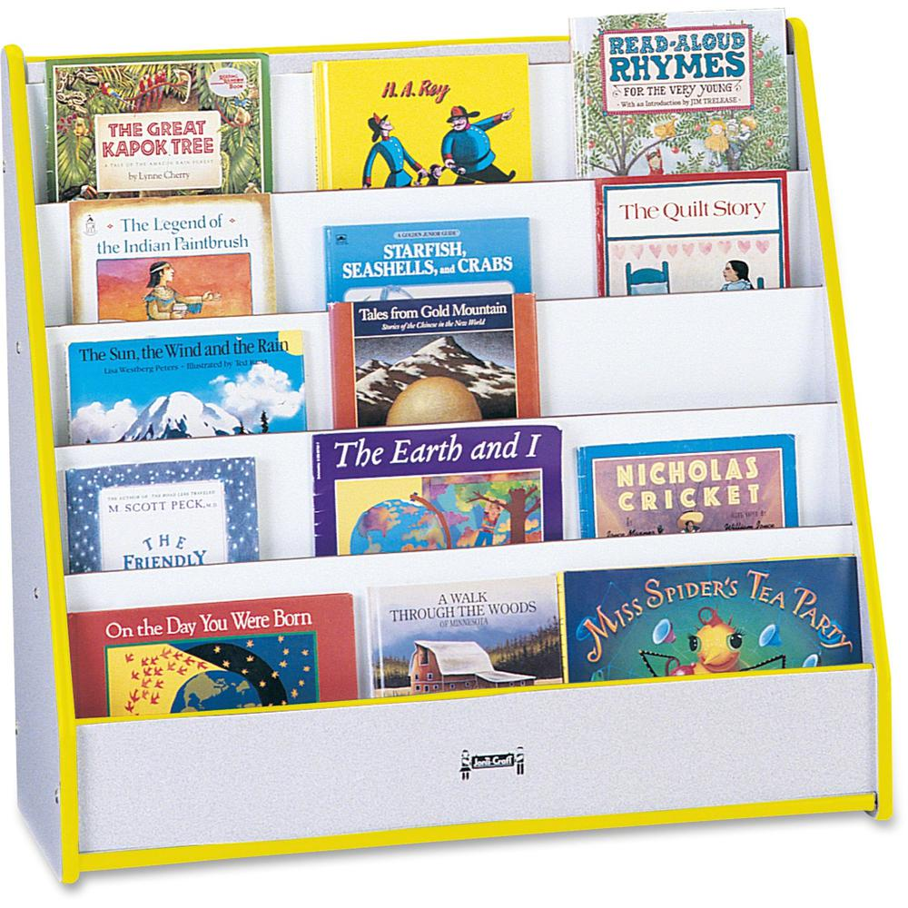 "Rainbow Accents Laminate 5-shelf Pick-a-Book Stand - 5 Compartment(s) - 1"" - 27.5"" Height x 30"" Width x 13.5"" Depth - Yellow - 1Each. Picture 1"