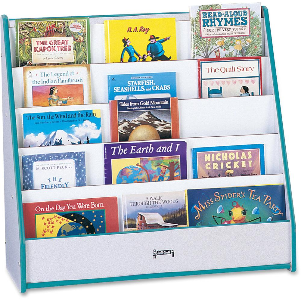 "Rainbow Accents Laminate 5-shelf Pick-a-Book Stand - 5 Compartment(s) - 1"" - 27.5"" Height x 30"" Width x 13.5"" Depth - Teal - 1Each. Picture 1"