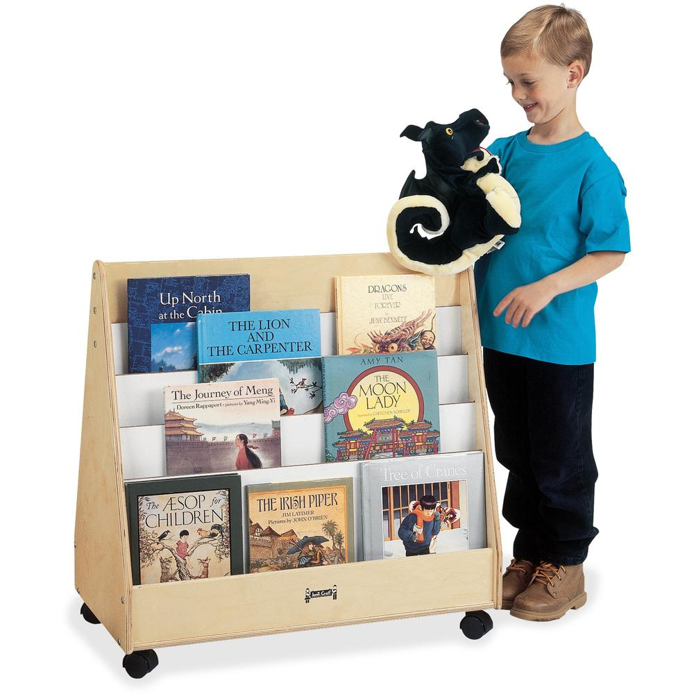 """Jonti-Craft Double Sided Mobile Pick-a-Book Stand - 8 Compartment(s) - 1"""" - 30"""" Height x 30"""" Width x 16.5"""" Depth - Baltic - Birch Plywood - 1Each. Picture 1"""
