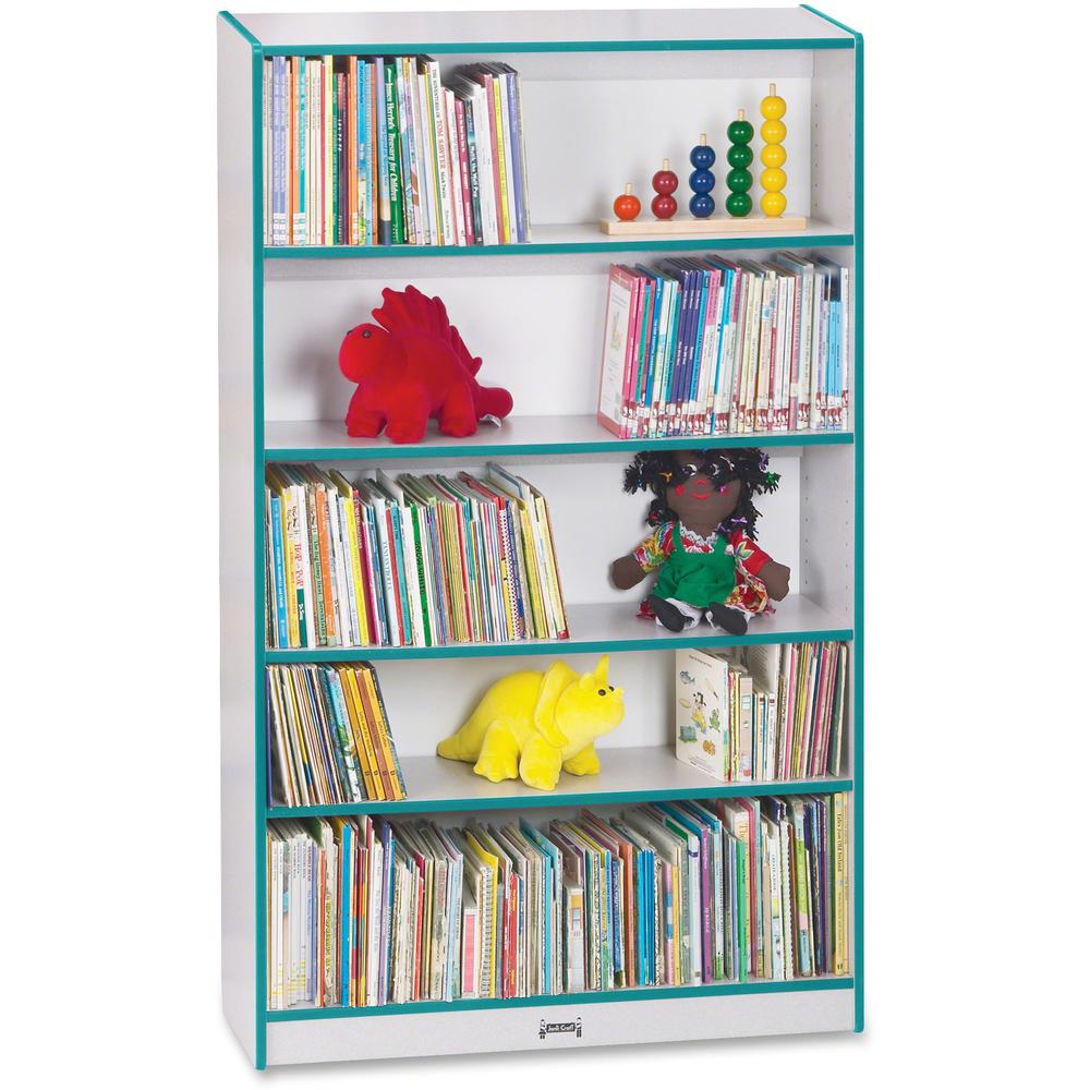 """Rainbow Accents 60"""" Bookcase - 59.5"""" Height x 36.5"""" Width x 11.5"""" Depth - Teal - 2 / Each. Picture 1"""