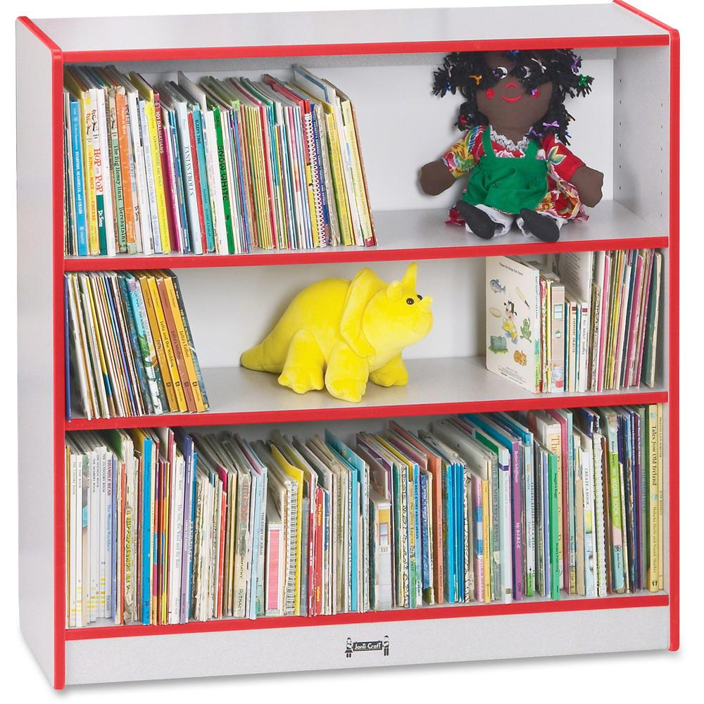 """Rainbow Accents 36"""" Bookcase - 36"""" Height x 36.5"""" Width x 11.5"""" Depth - Red - 1Each. Picture 1"""