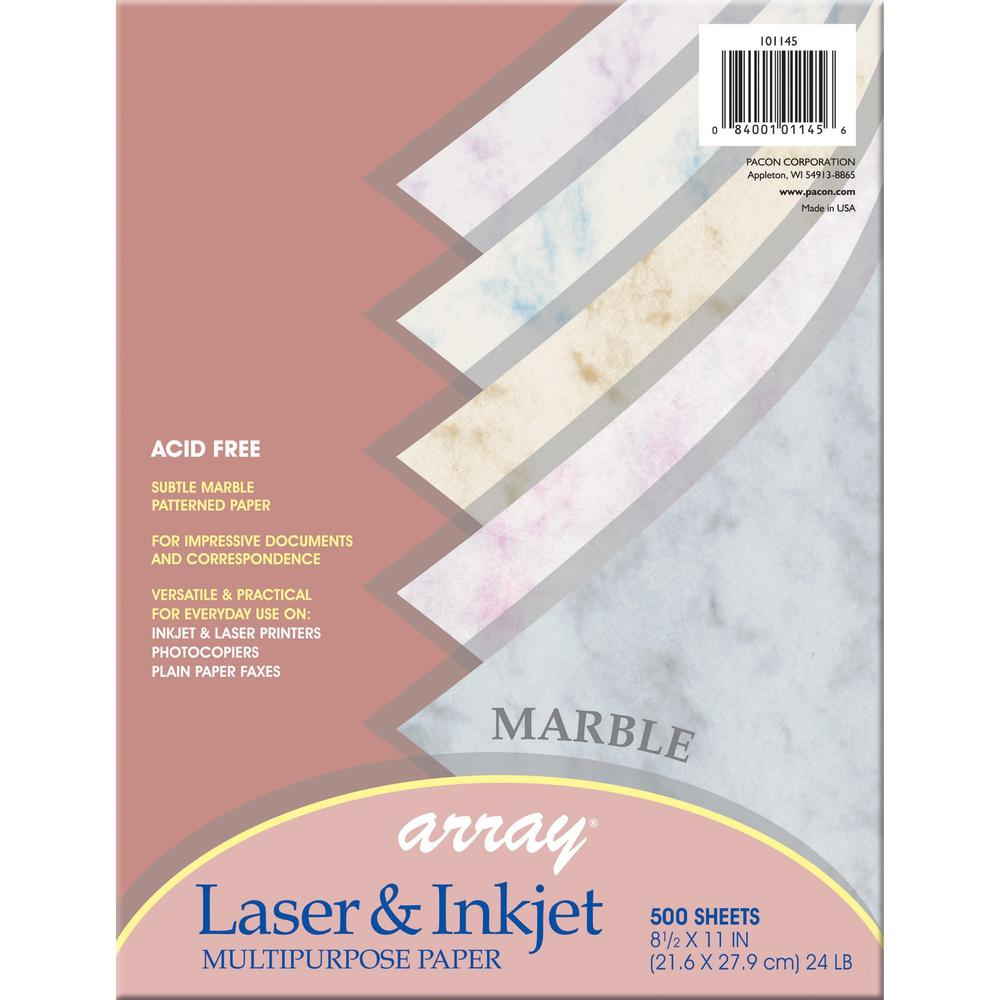 """Pacon Laser, Inkjet Bond Paper - Letter - 8.50"""" x 11"""" - 24 lb Basis Weight - 500 Sheets/Pack - Marble Bond Paper - 5 Assorted Colors. Picture 1"""