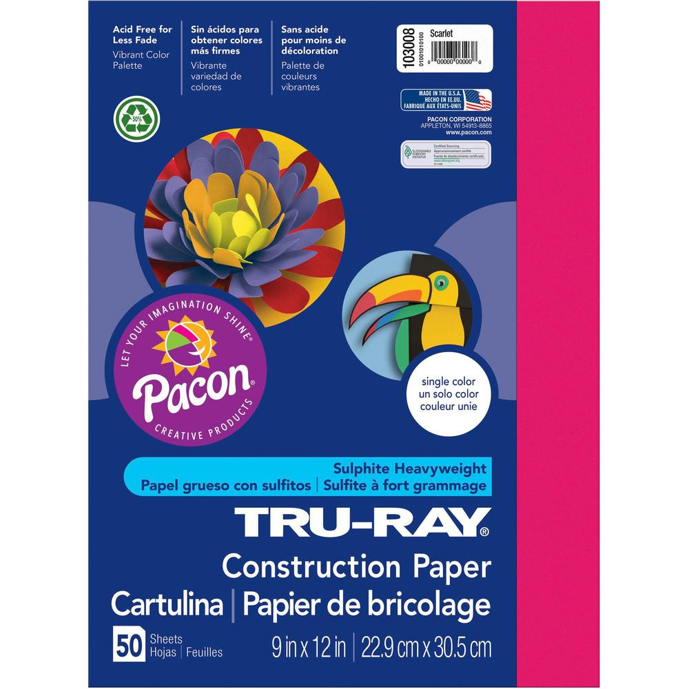 """Tru-Ray Construction Paper - Project - 12"""" x 9"""" - 50 / Pack - Scarlet - Sulphite. Picture 1"""