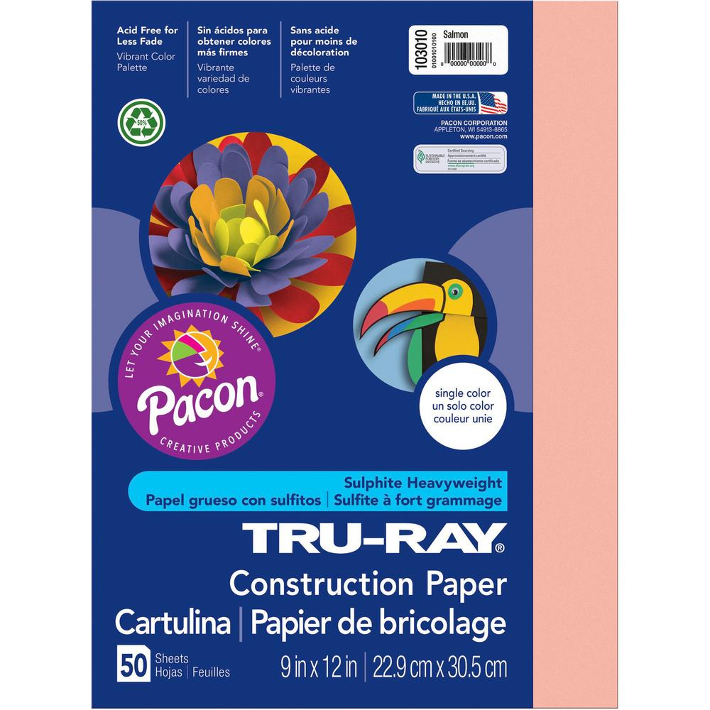 """Tru-Ray Construction Paper - Project - 12"""" x 9"""" - 50 / Pack - Salmon - Sulphite. Picture 1"""
