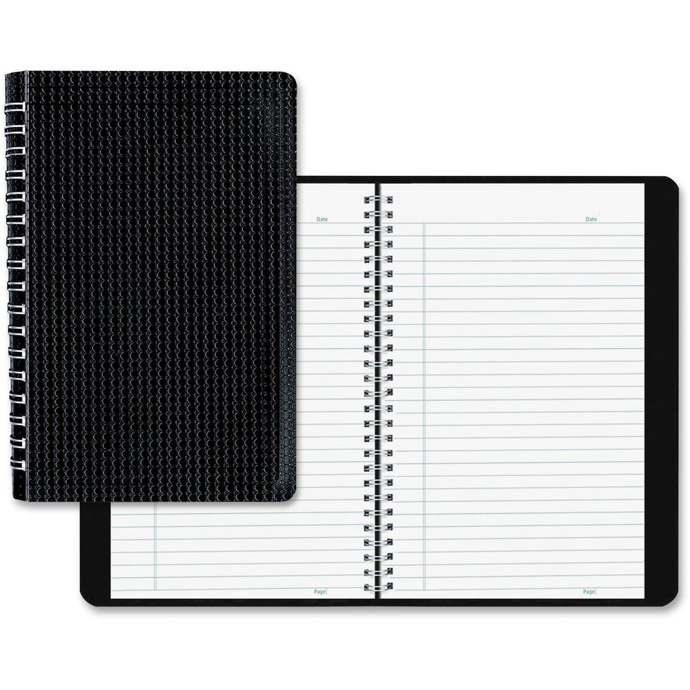 """Blueline Duraflex Notebook - 160 Sheets - Twin Wirebound - Ruled - 9 1/2"""" x 6"""" - Black Cover Textured - Poly Cover - Flexible Cover, Micro Perforated, Durable Cover - Recycled - 1Each. Picture 1"""
