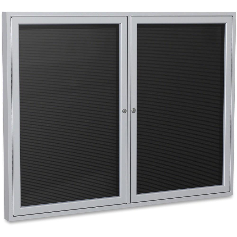 """Ghent Aluminum Frame Enclosed Indoor Letterboard - 36"""" Height x 48"""" Width - Shatter Resistant, Lock, Weather Resistant, Durable - Aluminum Frame - 1 Each. Picture 1"""