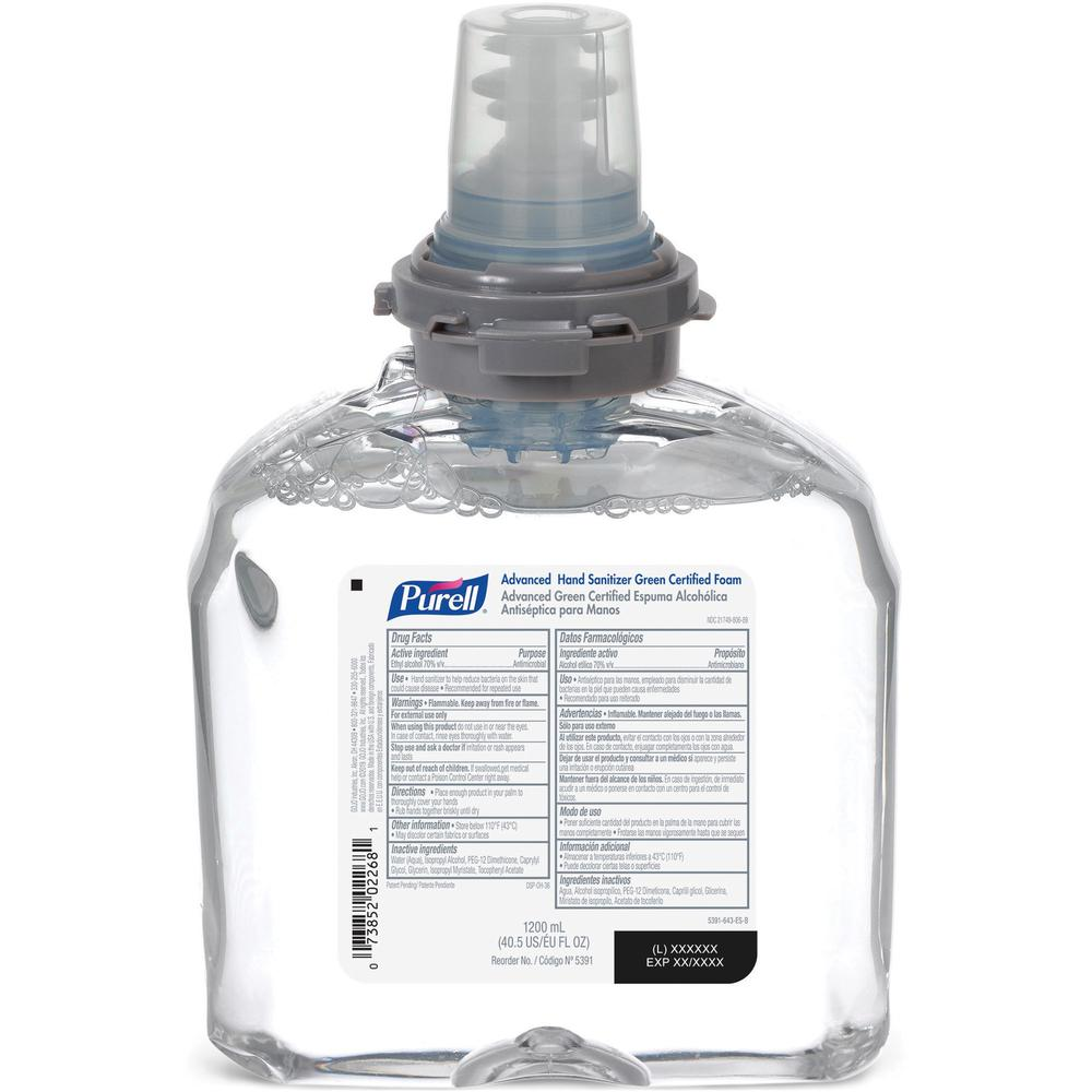 PURELL® Sanitizing Foam Refill - 40.6 fl oz (1200 mL) - Hand - Clear - Dye-free, Fragrance-free - 2 / Carton. Picture 1