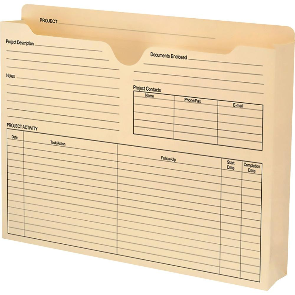 """Smead Project File Jackets - 2"""" Folder Capacity - Letter - 8 1/2"""" x 11"""" Sheet Size - 2"""" Expansion - Straight Tab Cut - Top Tab Location - 11 pt. Folder Thickness - Manila - Manila - 1.84 oz - Recycled"""