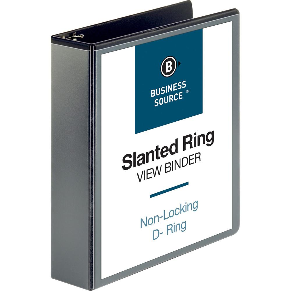 """Business Source Basic D-Ring View Binders - 2"""" Binder Capacity - Letter - 8 1/2"""" x 11"""" Sheet Size - D-Ring Fastener(s) - Polypropylene - Black - Clear Overlay - 1 Each. Picture 1"""