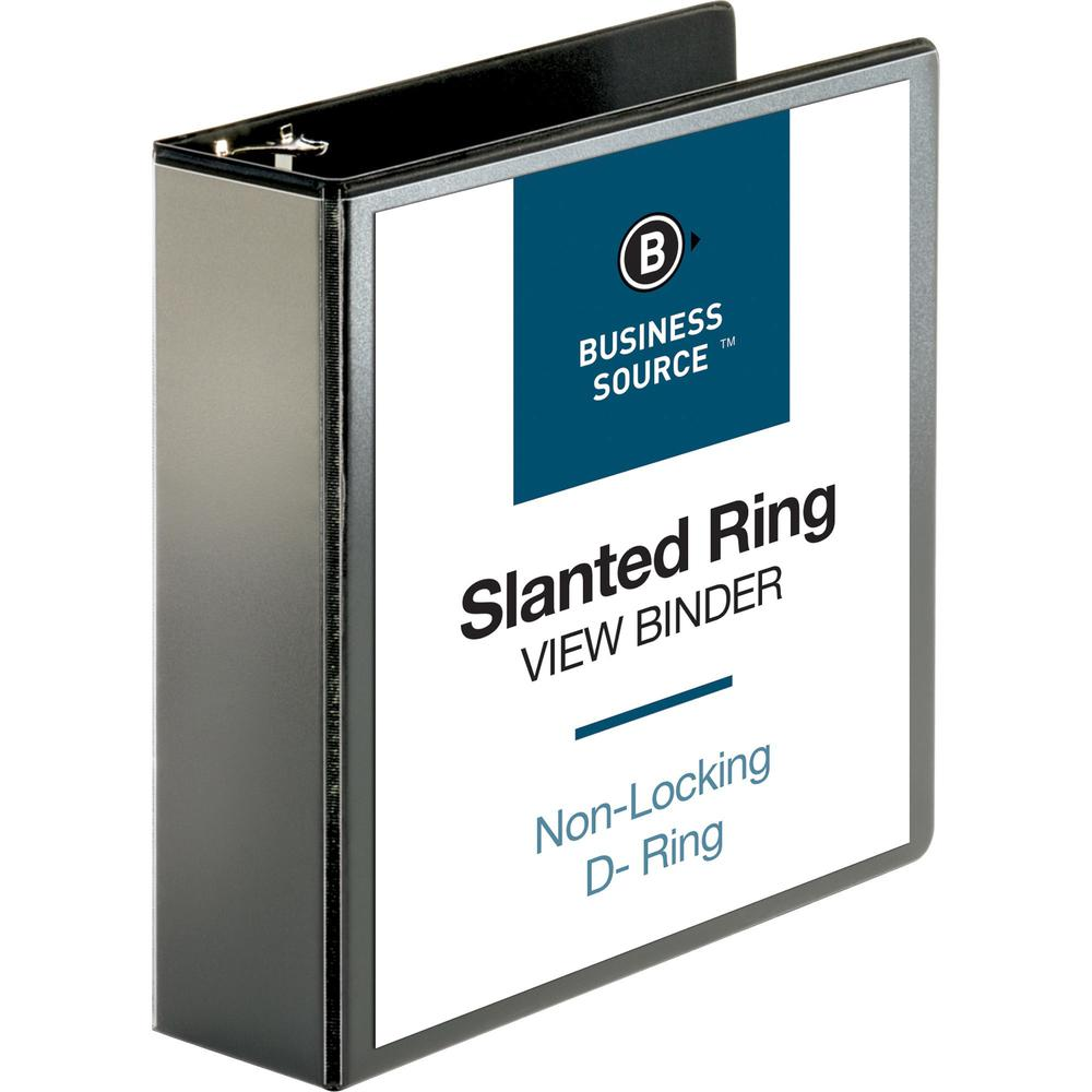 """Business Source Basic D-Ring View Binders - 3"""" Binder Capacity - Letter - 8 1/2"""" Sheet Size - D-Ring Fastener(s) - Polypropylene - Black - Clear Overlay - 1 Each. Picture 1"""