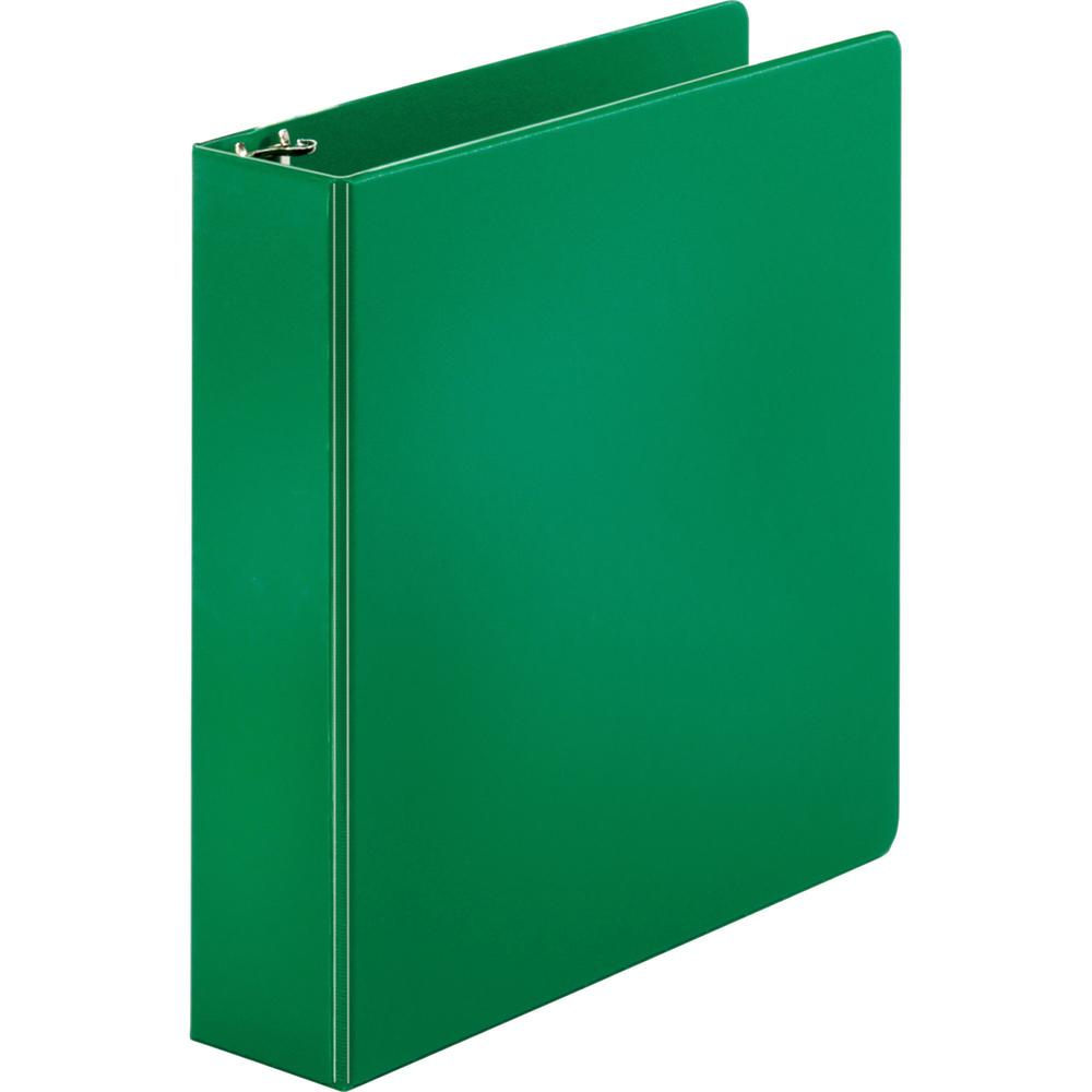 """Business Source Basic Round-ring Binder - 2"""" Binder Capacity - Letter - 8 1/2"""" x 11"""" Sheet Size - 3 x Round Ring Fastener(s) - Vinyl - Green - Open and Closed Triggers - 1 Each. Picture 1"""