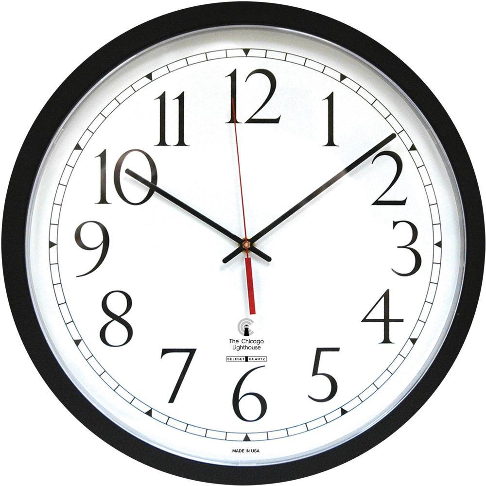 Chicago Lighthouse Self-set Clock - Analog - Quartz - White Main Dial - Black/Polystyrene Case - Contemporary Style. Picture 1