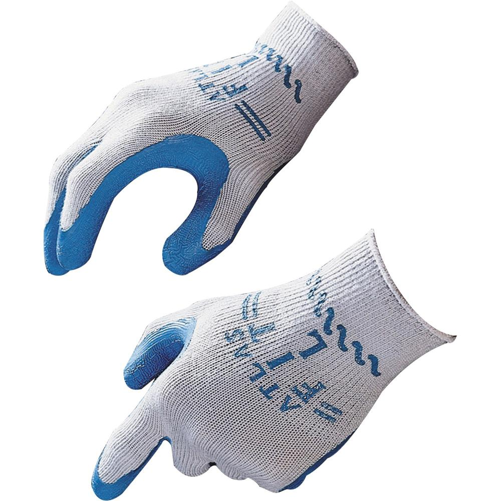 Showa Atlas Fit General Purpose Gloves - Large Size - Rubber, Cotton Liner, Polyester Liner - Blue, Gray - Lightweight, Elastic Wrist - 2 / Pair. Picture 1