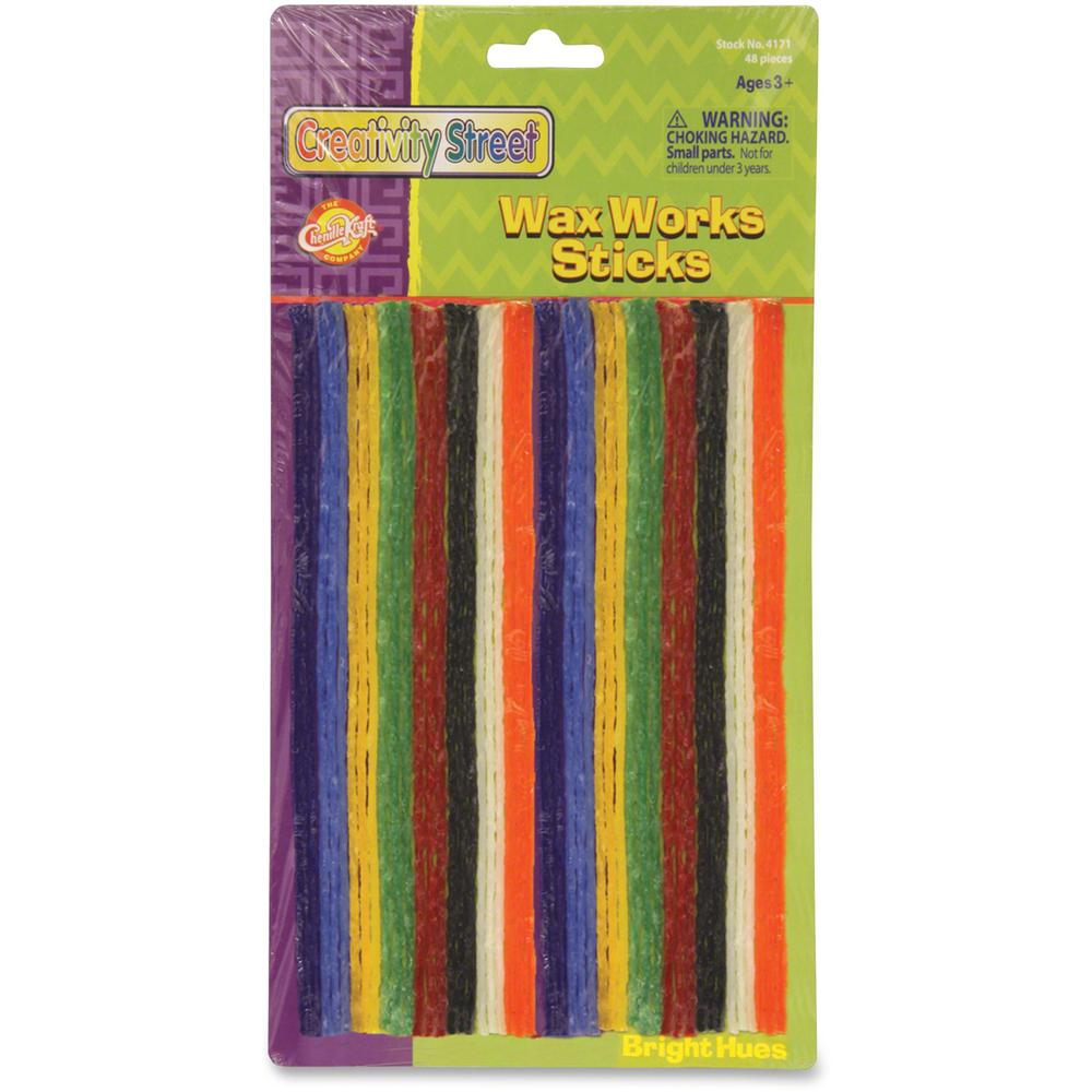 "Creativity Street Bright Hues Wax Works Sticks - 8"" - 48 / Pack - Assorted. Picture 1"