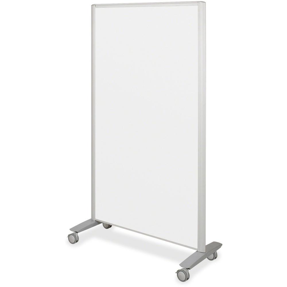 "MooreCo Balt Lumina Multifunctional Mobile Room Divider - 39.5"" Width x 72"" Height x 20"" Depth - Platinum Frame. Picture 1"