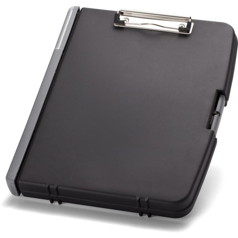 "OIC Triple File Clipboard Storage Box - 8 1/2"" x 11"" - Spring Clip - Black - 1 Each. Picture 1"