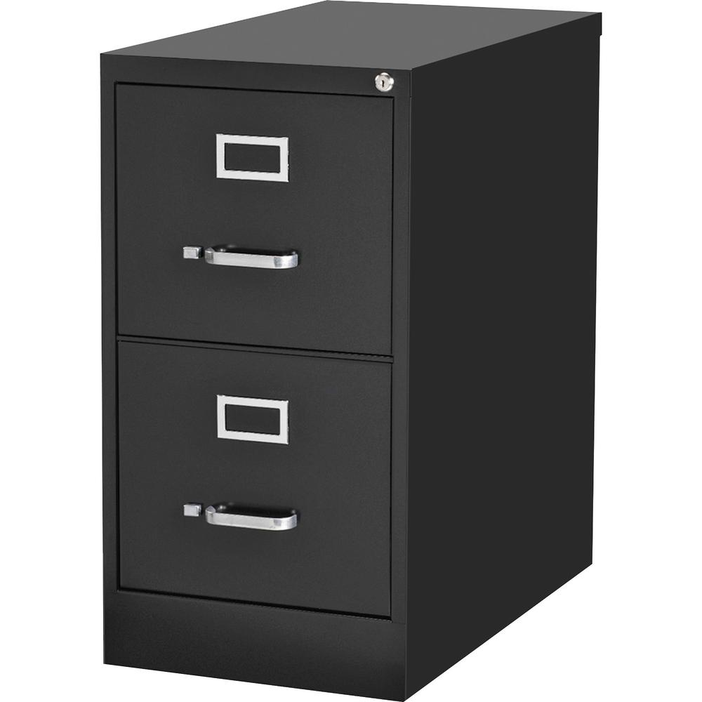 "Lorell Commercial-grade Vertical File - 15"" x 22"" x 28.4"" - 2 x Drawer(s) for File - Letter - Lockable, Ball-bearing Suspension - Black - Recycled"