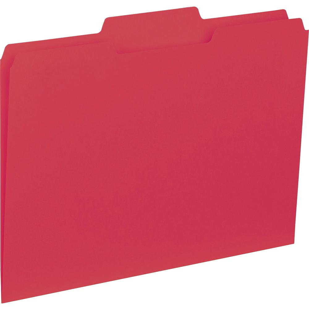 """Business Source 1/3-cut Colored Interior File Folders - Letter - 8 1/2"""" x 11"""" Sheet Size - 1/3 Tab Cut - Top Tab Location - Assorted Position Tab Position - 11 pt. Folder Thickness - Red - Recycled - . Picture 1"""