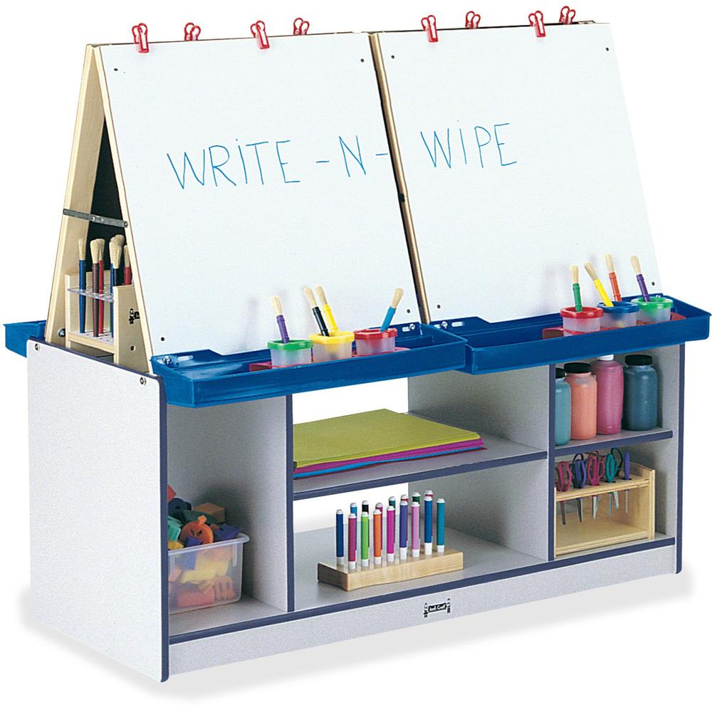 Jonti-Craft Rainbow Accents 4 Station Art Center - Freckled Gray, Navy Stand - Floor Standing - Assembly Required - 1 Each. Picture 1