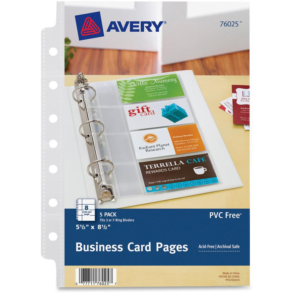 Avery Business Card Pages 8 X Capacity 5 1 2 Sheet Ring Binder Rectangular Clear