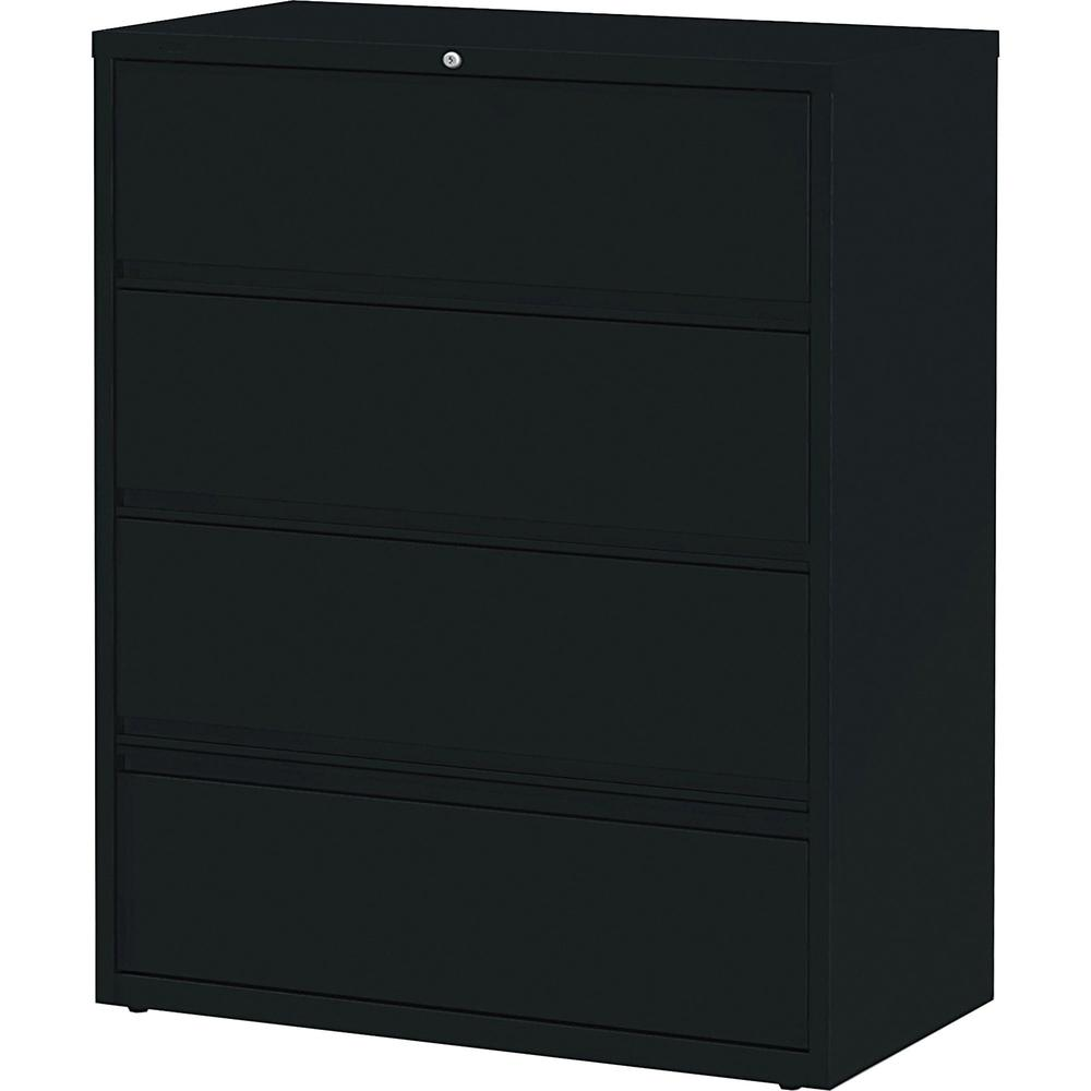 "Lorell Receding Lateral File with Roll Out Shelves - 4-Drawer - 42"" x 18.6"" x 52.5"" - 4 x Drawer(s) for File - Letter, A4, Legal - Leveling Glide, Heavy Duty, Recessed Handle, Ball-bearing Suspension,"