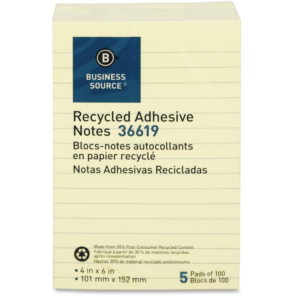 """Business Source Yellow Adhesive Notes - 4"""" x 6"""" - Rectangle - Ruled - Yellow - Self-adhesive, Removable - 5 / Pack. Picture 1"""