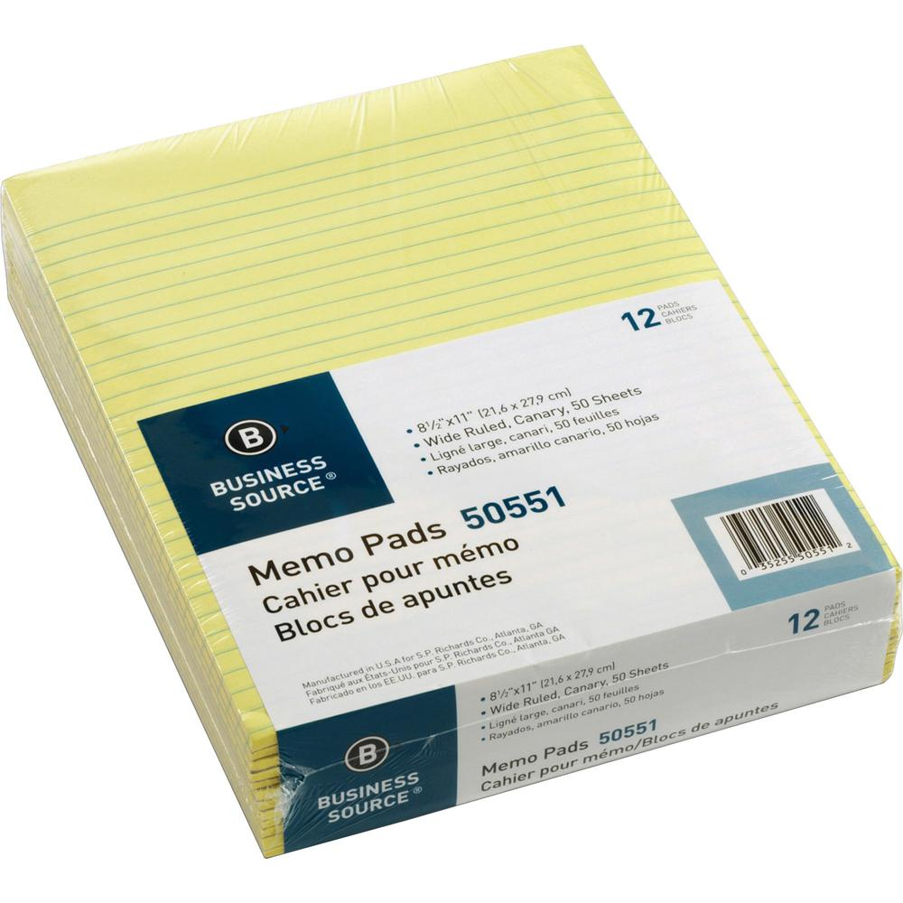 "Business Source Glued Top Ruled Memo Pads - Letter - 50 Sheets - Glue - 16 lb Basis Weight - 8 1/2"" x 11"" - Canary Paper - 12 / Dozen. Picture 1"