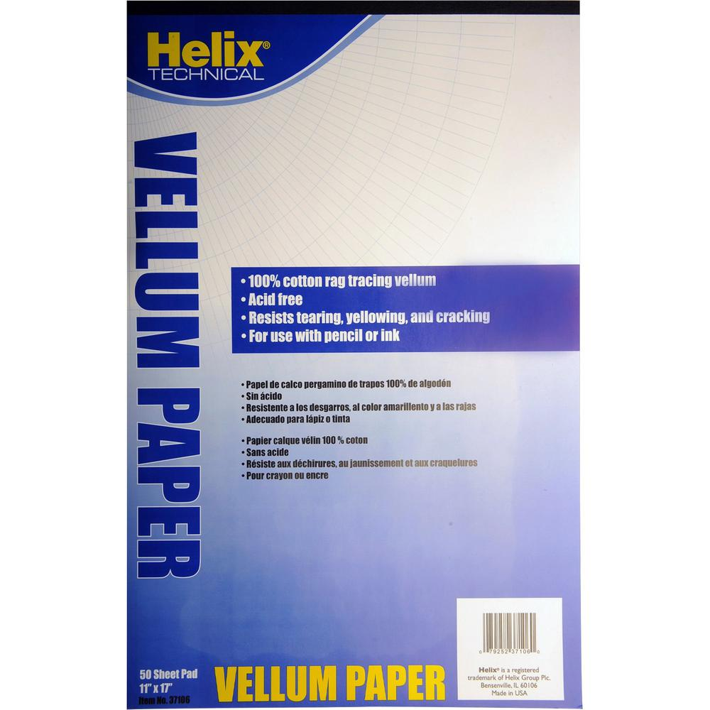 """Helix Vellum Paper Pad - 50 Sheets - 16 lb Basis Weight - 8 1/2"""" x 17"""" - White Paper - Archival, Fade Resistant, Tear Resistant, Smudge Resistant, Crack Resistant, Acid-free - 1 / Pad. Picture 1"""