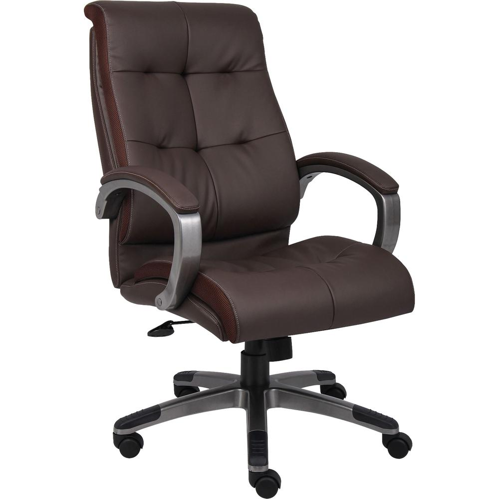 Lorell Executive Chair Leather Brown Seat 5 Star Base