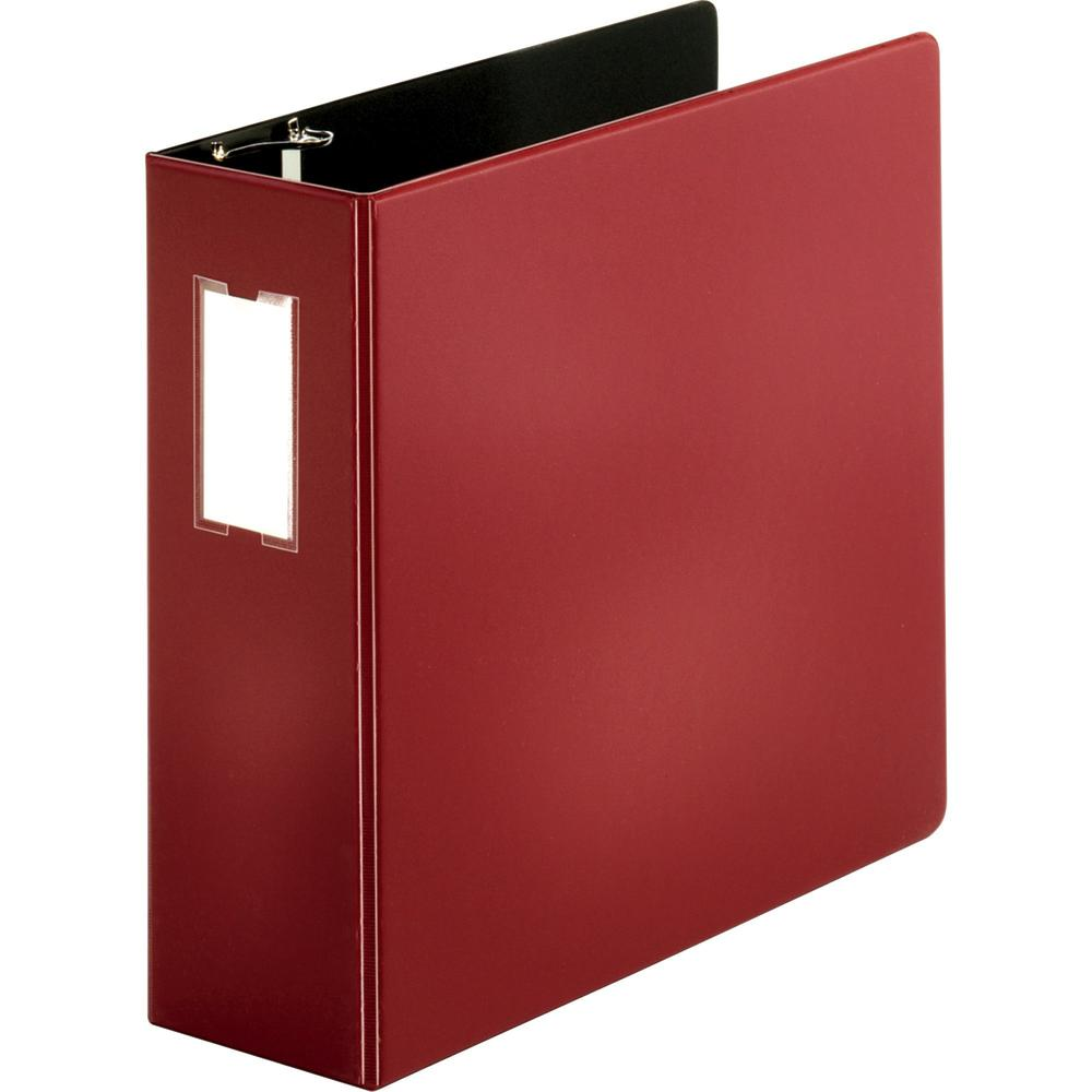 "Business Source Slanted D-ring Binders - 4"" Binder Capacity - 3 x D-Ring Fastener(s) - 2 Internal Pocket(s) - Chipboard, Polypropylene - Burgundy - PVC-free, Non-stick, Label Holder, Gap-free Ring, No. Picture 1"