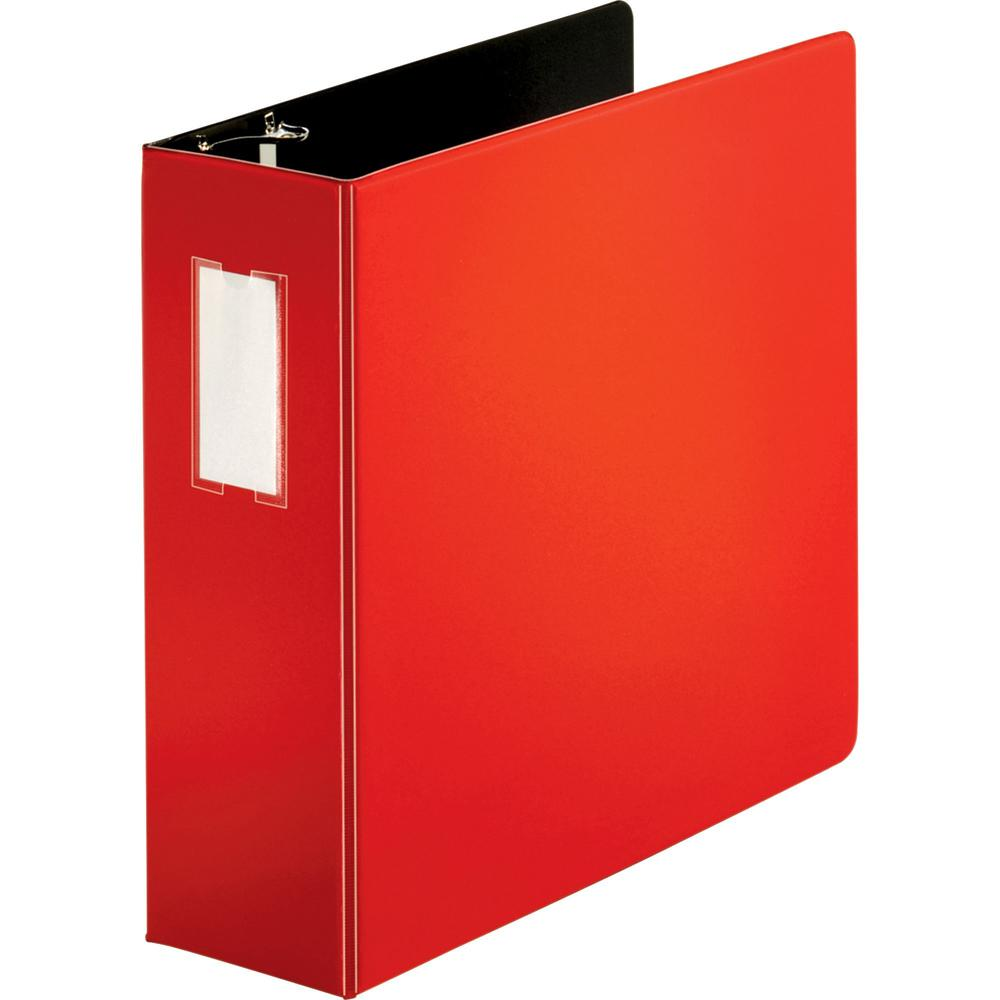 """Business Source Slanted D-ring Binders - 4"""" Binder Capacity - 3 x D-Ring Fastener(s) - 2 Internal Pocket(s) - Chipboard, Polypropylene - Red - PVC-free, Non-stick, Label Holder, Gap-free Ring, Non-gla. Picture 1"""