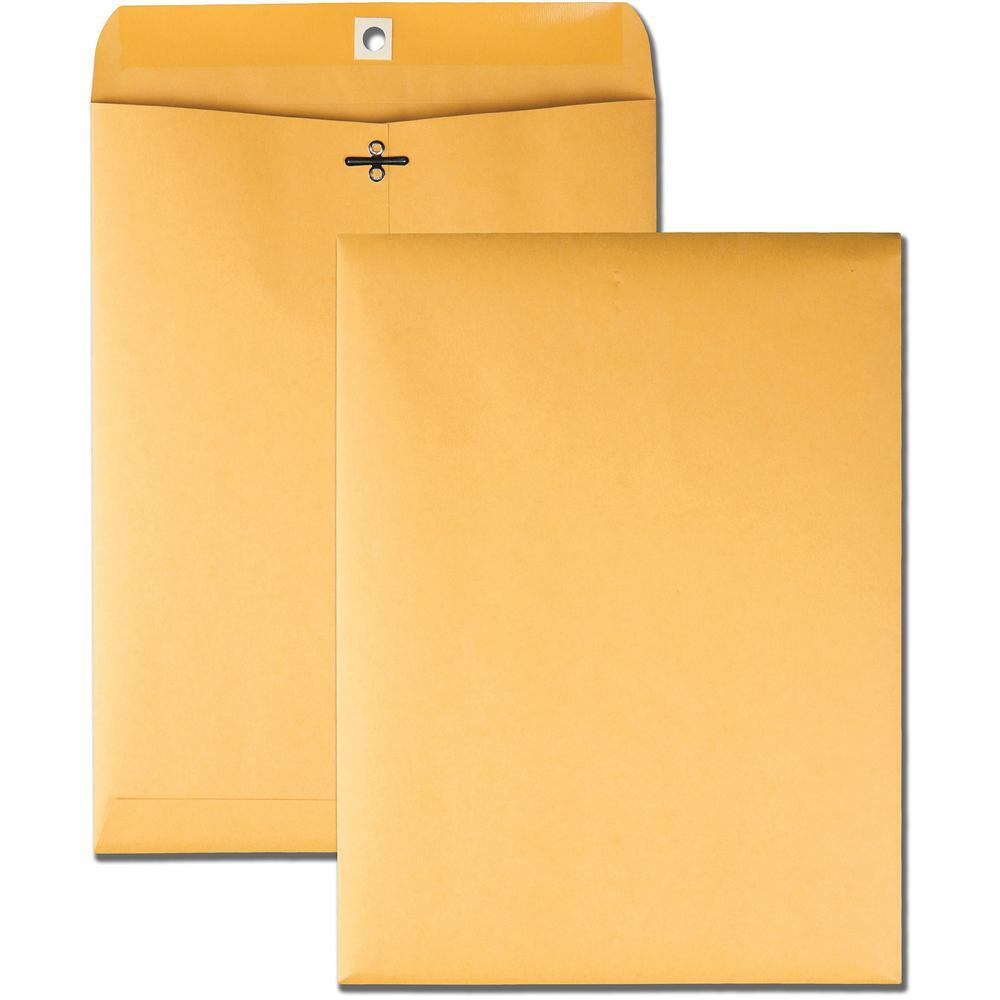 "Business Source 32 lb Kraft Clasp Envelopes - Clasp - #90 - 9"" Width x 12"" Length - 32 lb - Clasp - Kraft - 100 / Box - Brown Kraft. Picture 1"