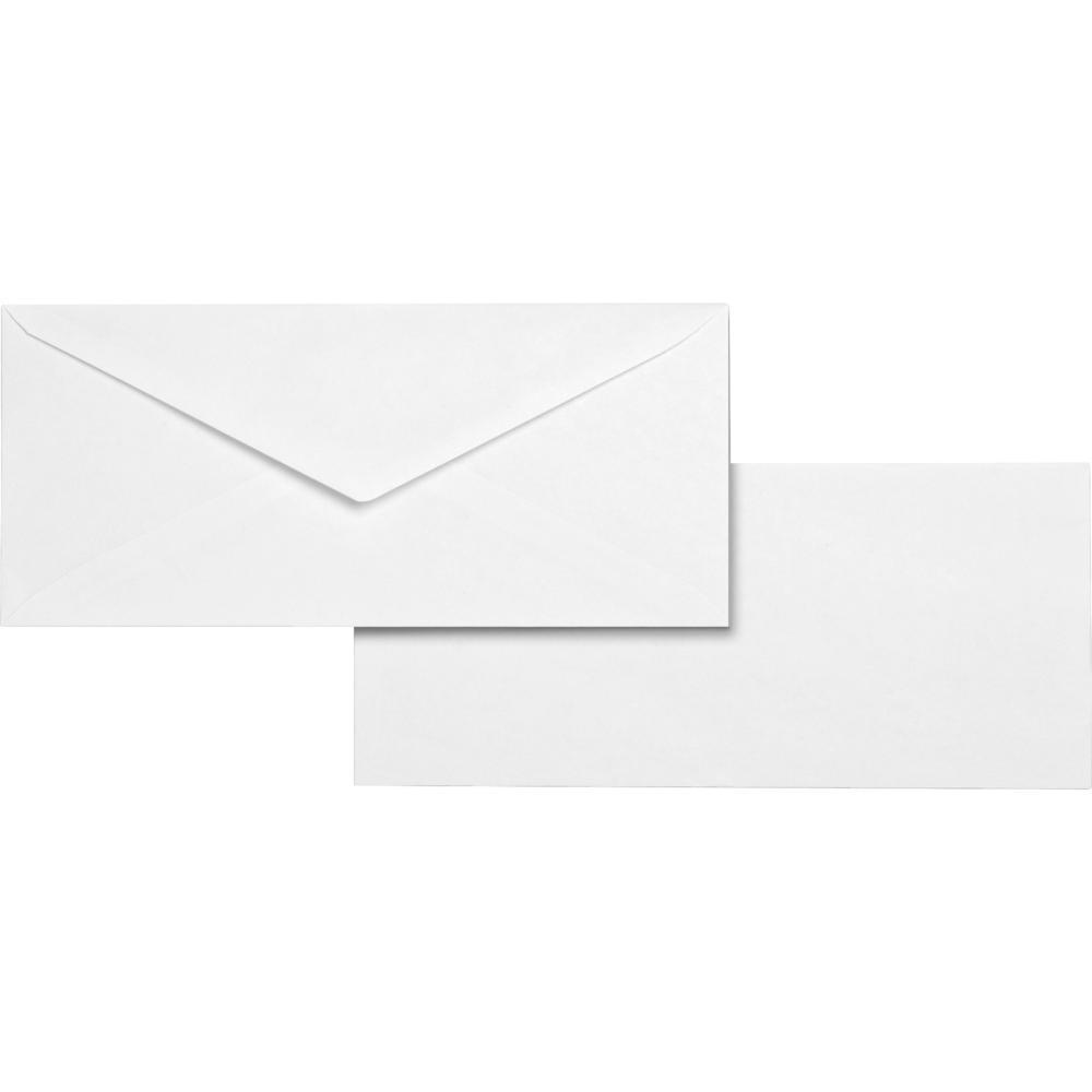 "Business Source No. 10 White Wove V-Flap Business Envelopes - Business - #10 - 9 1/2"" Width x 4 1/8"" Length - 24 lb - Gummed - Wove - 500 / Box - White. Picture 1"
