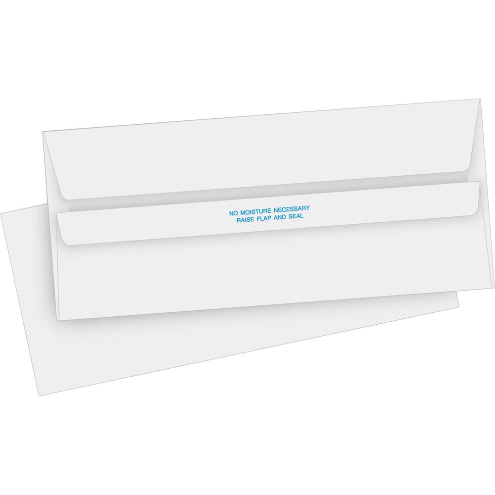 "Business Source No. 10 Self-seal Invoice Envelopes - Business - #10 - 4 1/8"" Width x 9 1/2"" Length - 24 lb - Self-sealing - 500 / Box - White. Picture 1"