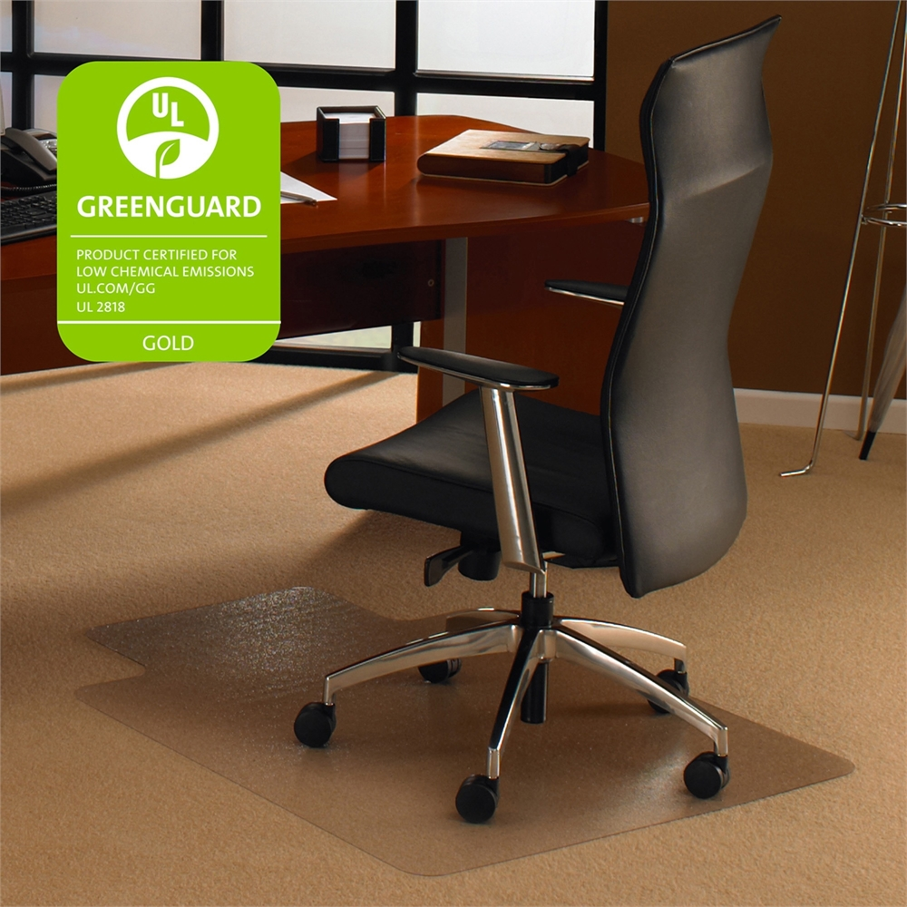 """Cleartex Ultimat Chair Mat, Clear Polycarbonate, For Low & Medium Pile Carpets (up to 1/2""""), Rectangular with Lip, Size 48"""" x 60"""". Picture 1"""
