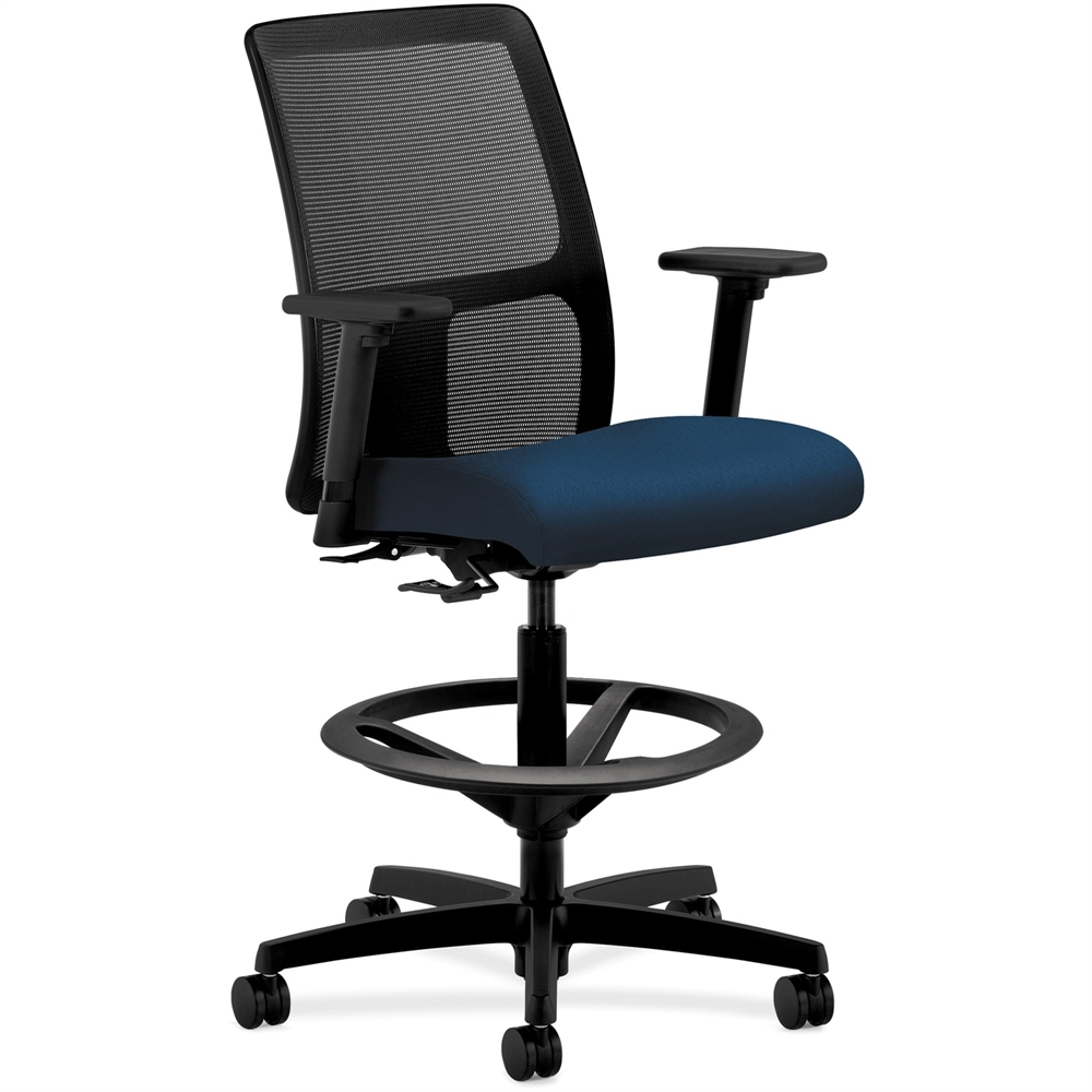 Backless ergonomic chair - Hon Ignition Mesh Back Task Stool Fabric Mariner Seat