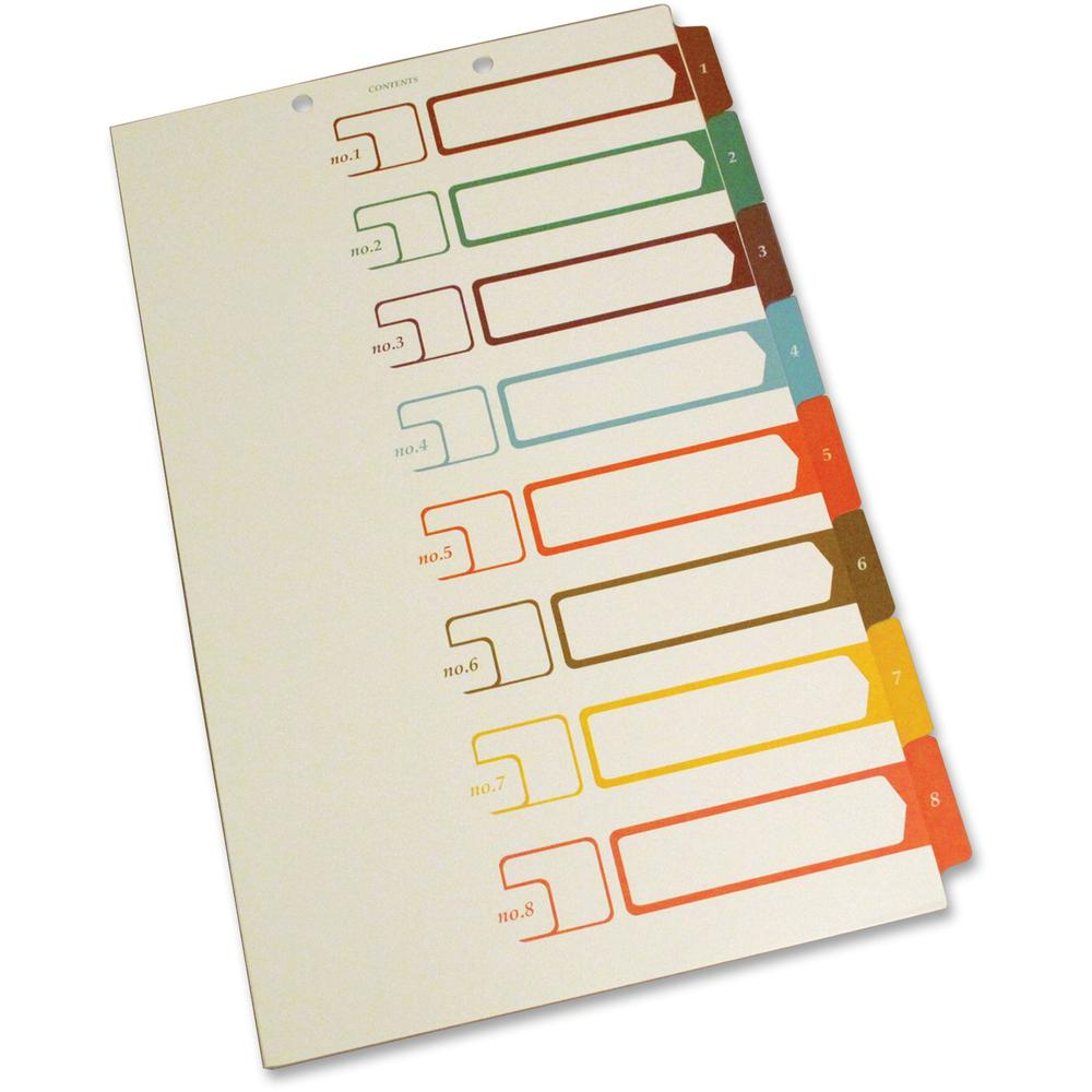 """SJ Paper Speedex Legal Size Side Tab TOC Dividers - 8 Printed Tab(s) - Digit - 1-8 - 8.5"""" Divider Width x 14"""" Divider Length - Legal - 2 Hole Punched - Ivory Divider - Multicolor Tab(s) - 8 / Set. Picture 1"""
