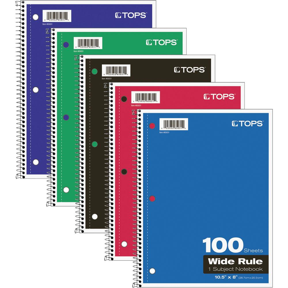 """TOPS Wide Rule 1-subject Spiral Notebook - 100 Sheets - Wire Bound - 10 1/2"""" x 8"""" - 0.3"""" x 8""""10.5"""" - Assorted Paper - Black, Red, Blue, Green, Purple Cover - Card Stock Cover - Perforated, Subject, Ea. Picture 1"""