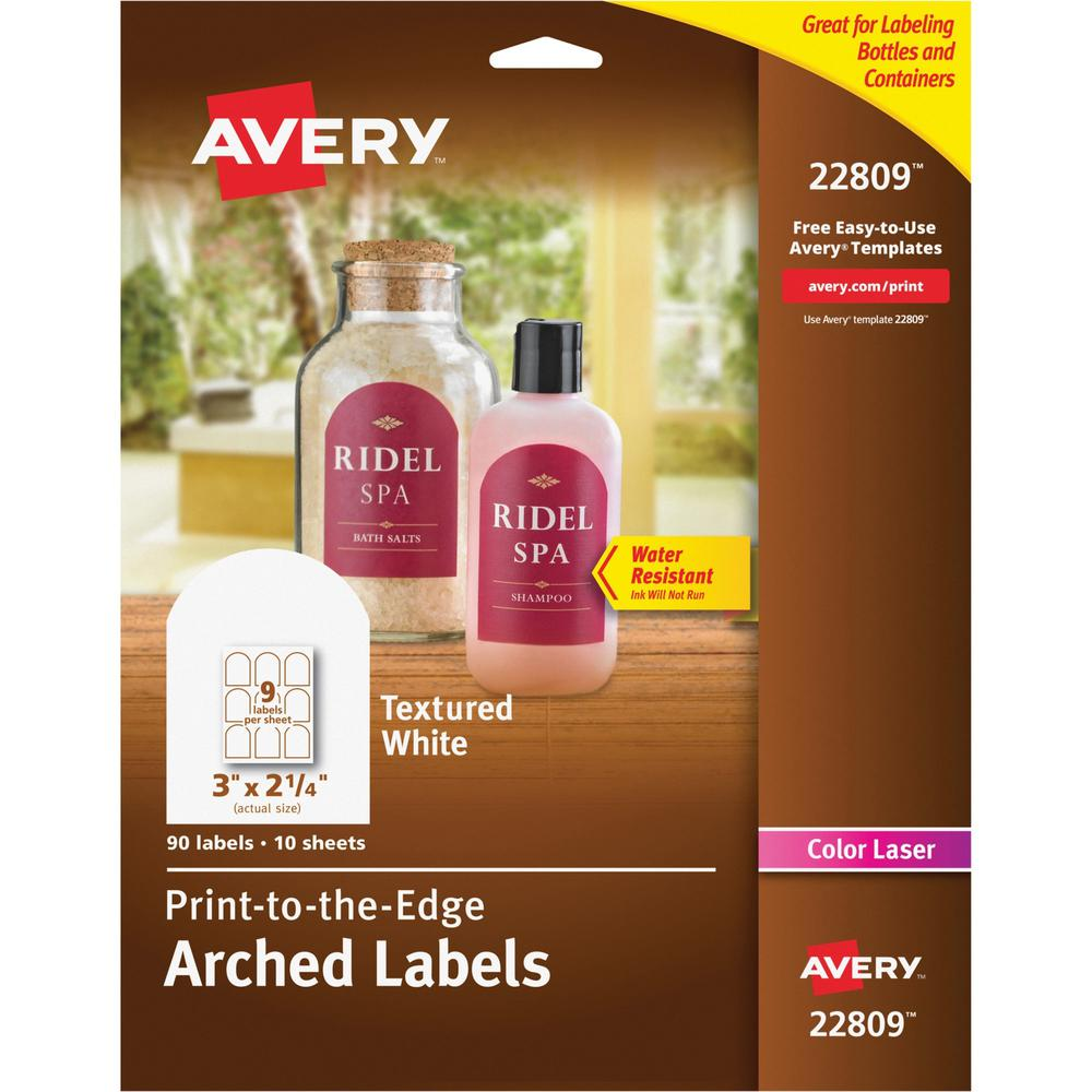 Avery® Arched Labels - Sure Feed - Print-to-the-Edge - Permanent Adhesive - Arched Rectangle - Laser - Matte White - Paper - 9 / Sheet - 10 Total Sheets - 90 Total Label(s) - 90 / Pack. Picture 1